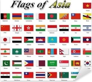 Sticker Pixerstick Drapeaux d'Asie
