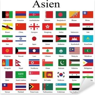 Sticker Pixerstick Drapeaux des pays d'Asie