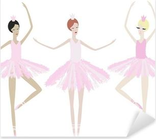 Pixerstick Sticker Drie gracieuze ballerina dansen in identieke jurken