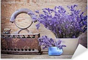 Pixerstick Sticker Droge lavendel en rustiek (roestig) ijzer - vintage stijl
