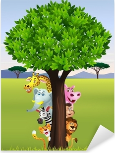 Sticker Pixerstick Drôle de safari animal cartoon
