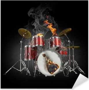 Drums in fire Pixerstick Sticker