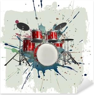 Pixerstick Sticker Drumstel op grunge achtergrond