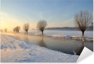 Dutch winter landscape with snow and low sun Pixerstick Sticker