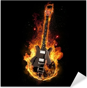 Sticker Pixerstick E Guitar on Fire