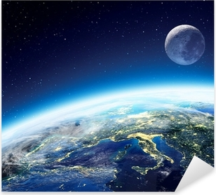Earth and moon view from space at night - Europe Pixerstick Sticker