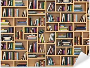 Education concept. Books and textbooks on the bookshelf. Pixerstick Sticker
