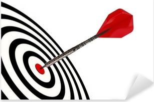 Pixerstick Sticker Een dart pijl zijn doel geïsoleerd met clipping path raakt