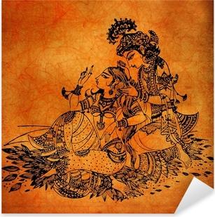 Pixerstick Sticker Een oude Radha Krishna schilderijen