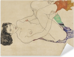 Egon Schiele - Lying Nude Pixerstick Sticker