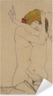 Pixerstick Sticker Egon Schiele - Twee vrouwen omarmen elkaar