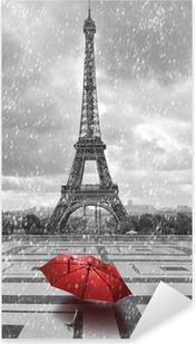 Pixerstick Sticker Eiffel toren in de regen. Zwart-wit foto met rode element