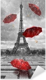 Pixerstick Sticker Eiffel toren met vliegende paraplu's.