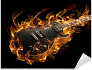 Electric guitar in fire and flames Pixerstick Sticker