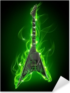 Electric guitar in green fire and flame Pixerstick Sticker