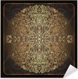 Pixerstick Sticker Elegante kaart met de hand beschilderde ornamenten. Goud en zwart stijlvolle