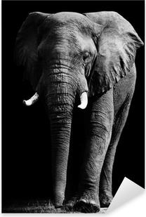 Sticker Pixerstick Elephant isolé sur fond noir