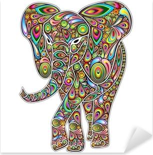 Pixerstick Sticker Elephant Psychedelic Pop Art Design op Witte