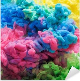 Sticker Pixerstick Encre acrylique colorée dans l'eau isolée. fond abstrait. explosion de couleur