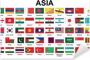 Sticker Pixerstick Ensemble d'icônes avec les pays d'Asie drapeaux