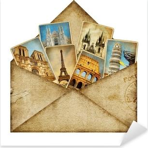 Sticker Pixerstick Enveloppe vintage avec des cartes de voyage