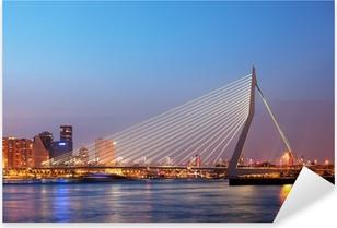 Pixerstick Sticker Erasmusbrug in Rotterdam bij Schemering