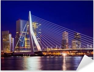 Pixerstick Sticker Erasmusbrug Tijdens Blue Hour, Rotterdam, Nederland