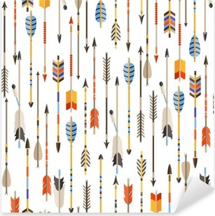 Ethnic seamless pattern with indian arrows in native style Pixerstick Sticker