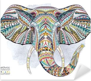 Pixerstick Sticker Etnische patroon hoofd van olifant op de landhuisachtergrond / Afrikaanse / Indiase / totem / tattoo ontwerp. Gebruik voor print, posters, t-shirts.