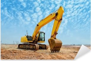 excavator loader machine during earthmoving works outdoors Pixerstick Sticker