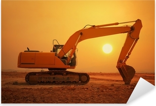 excavator loader machine during earthmoving works outdoors Pixerstick Sticker