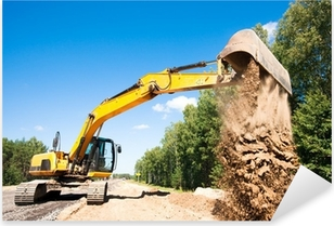 Excavator unloading sand during road construction works Pixerstick Sticker