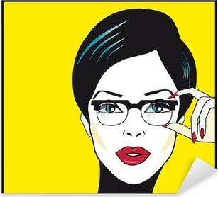 Sticker Pixerstick Eyewear femme portrait de gros plan. Femme portant des lunettes ho