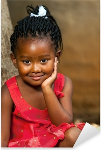 Face shot of cute african girl. Pixerstick Sticker