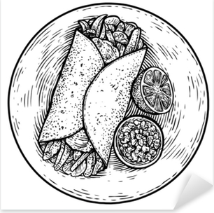 Fajitas illustration, drawing, engraving, ink, line art, vector Pixerstick Sticker