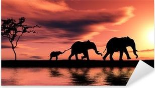 Sticker Pixerstick Famille d elephants