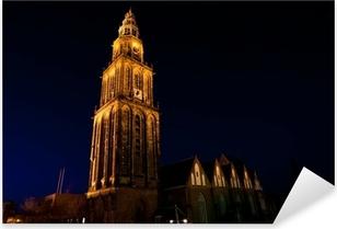 famous Martinitoren (Martini tower) in Groningen at night Pixerstick Sticker