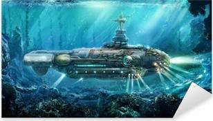 Fantastic submarine Pixerstick Sticker