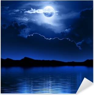 Fantasy Moon and Clouds over water Pixerstick Sticker