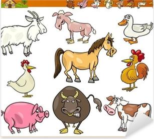 cartoon rural scene with farm animals Sticker • Pixers® - We live to