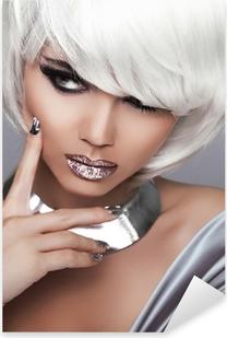 Fashion Blond Girl. Beauty Portrait Woman. White Short Hair. Sex Pixerstick Sticker