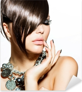 Fashion Glamour Beauty Girl With Stylish Hairstyle and Makeup Pixerstick Sticker