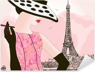 fashion woman in Paris Pixerstick Sticker