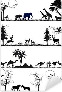 Sticker Pixerstick Faune animale jeu de fond, vecteur