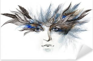 feathers around eyes (series C) Pixerstick Sticker