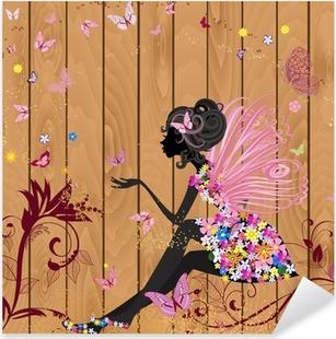 Sticker Pixerstick Fée de fleur sur une texture de bois pour votre conception