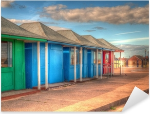 Pixerstick Sticker Fel gekleurde strandhuisjes