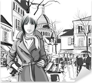 Sticker Pixerstick Femme en place Montmartre
