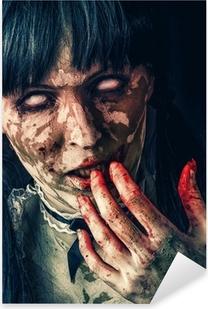 Sticker Pixerstick Femme zombie effrayant avec les yeux sanglants