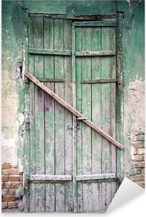 Sticker Pixerstick Fenêtres barricadées et vieille porte